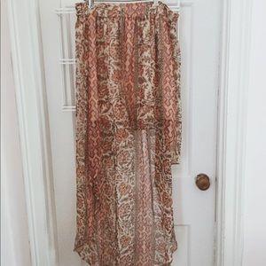 Printed flowing high low skirt